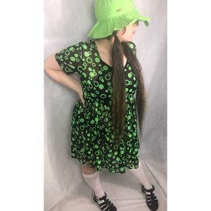 Black & lime green Mesh Babydoll dress